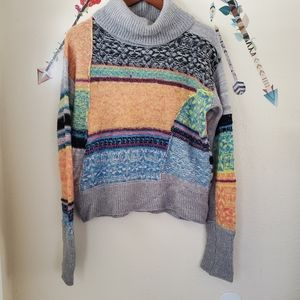 Free People Cowl Neck Multicolor Sweater
